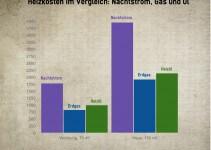 Vergleich Heizkosten: Nachtspeicherofen, Erdgas und Heizöl
